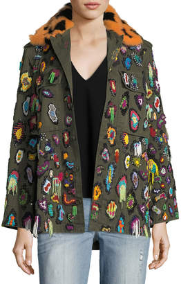 Neiman Marcus Libertine Beaded Army Jacket with Fur Collar
