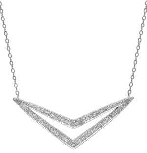 Lord & Taylor 14 Kt. White Gold and Diamond Pendant Necklace