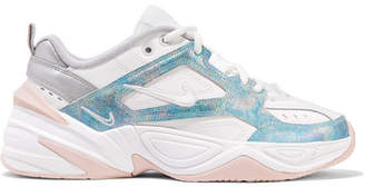 Nike M2k Tekno Leather, Mesh And Satin Sneakers - White