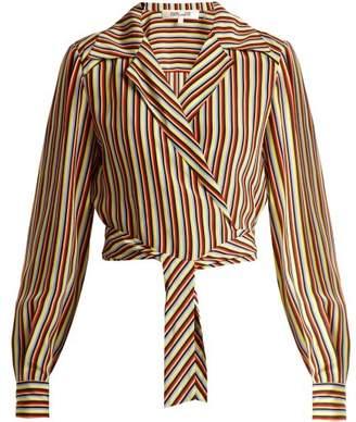 Diane von Furstenberg Paxton Striped Silk Cropped Blouse - Womens - Cream Stripe