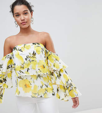 PrettyLittleThing Floral Ruffle Sleeve Top