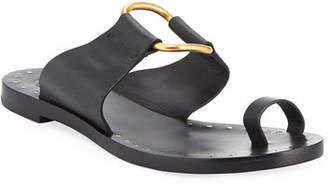 Tory Burch Brannan Flat Studded Leather Slide Sandal