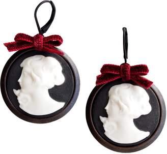 POPORCELAIN - Dark Romance Goddess Round Porcelain Cameo Earrings
