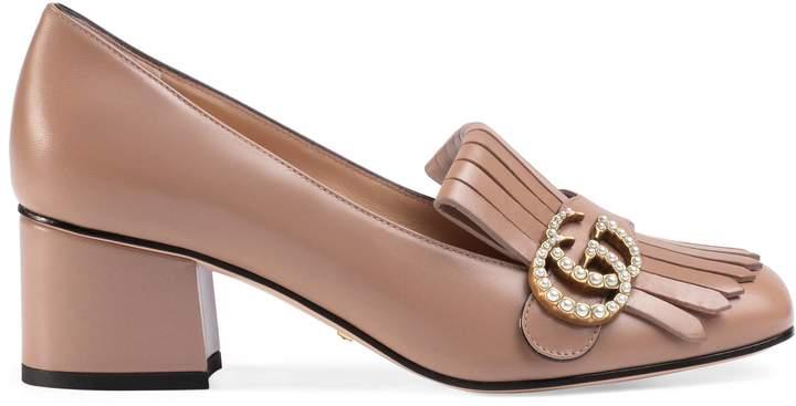Leather mid-heel pump