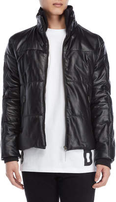 Bikkembergs Black Quilted Leather Down Jacket