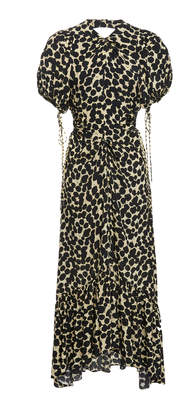 Proenza Schouler Printed Ruffle Hem Crepe Midi Dress Size: 2