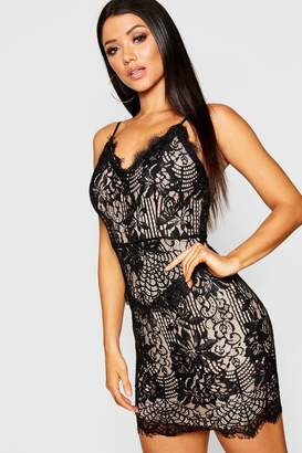 boohoo Eyelash Lace Strappy Bodycon Dress
