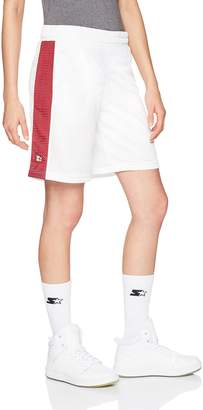 "Starter Women's 10"" Mesh Basketball Shorts with Stripe, Prime Exclusive, White with Team Maroon, XL"