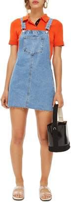 Topshop Raw Hem Denim Pinafore Dress