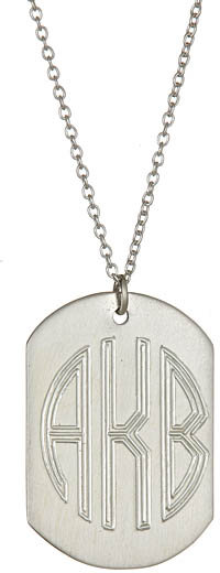 West Avenue Jewelry Dog Tag Monogram Silver Necklace