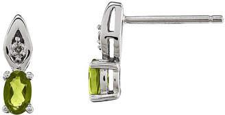 FINE JEWELRY Genuine Green Peridot Diamond-Accent 14K White Gold Peridot Earrings