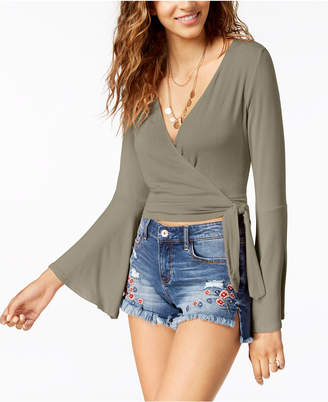 American Rag Juniors' Tie-Front Bell-Sleeve Crop Top, Created for Macy's
