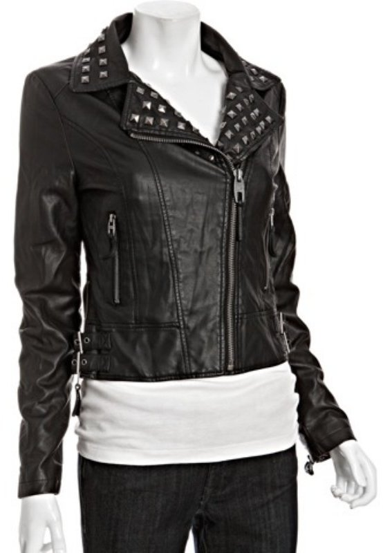 Miss Sixty black faux leather studded zip moto jacket