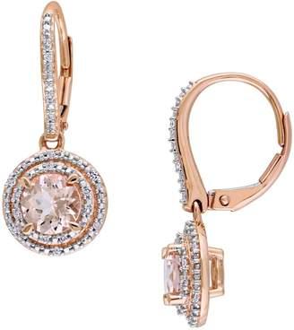 Concerto 10K Rose Gold, Morganite 0.1 CT. T.W. Diamond Double Halo Drop Earrings