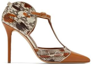 Malone Souliers By Roy Luwolt - Imogen T Bar Snakeskin And Leather Pumps - Womens - Tan Multi