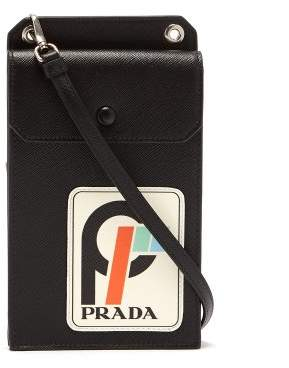 Prada Vintage Logo Print Leather Cross Body Bag - Womens - Black White