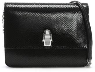 Class Roberto Cavalli Milano Black Leather Reptile Box Clutch Bag