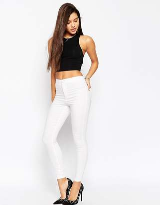 Asos Design DESIGN Rivington high waist denim jeggings in white