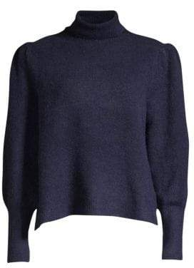 Frame Swingy Rib-Knit Turtleneck Sweater