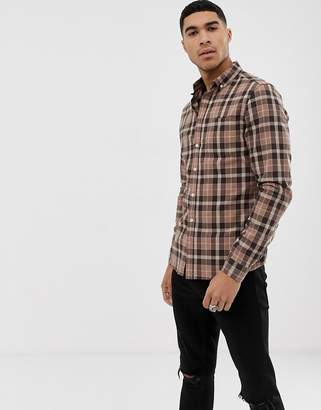 Asos Design DESIGN slim fit check shirt in brown