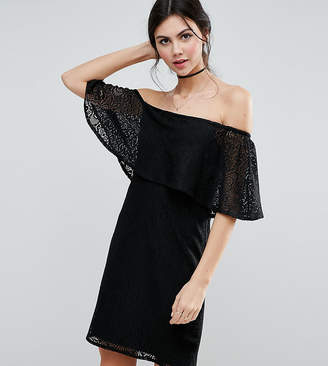 Asos Tall TALL Off Shoulder Lace Dress with Frill Detail
