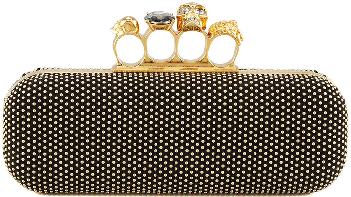 Alexander McQueen Studded Knuckle-Duster Clutch, Black