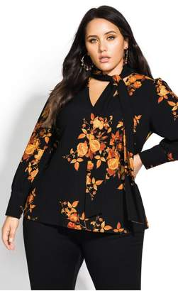 City Chic Citychic Golden Floral Top - black