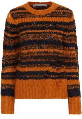 Raquel Allegra Stripe Lofty Distressed Intarsia-Knit Sweater