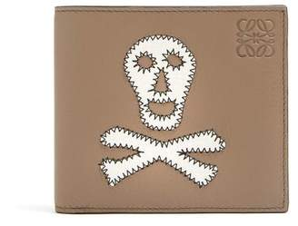 Loewe Skull Patch Leather Bi Fold Wallet - Mens - Khaki Multi