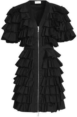 Isa Arfen Ruffled Cotton-Blend Twill Mini Dress