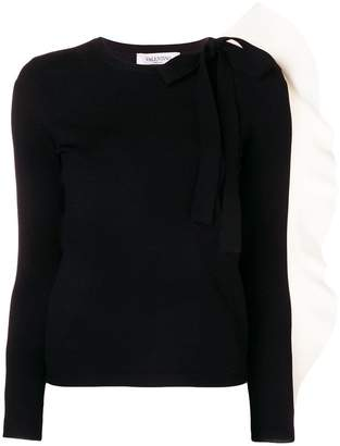 Valentino contrast ruffle sleeve jumper