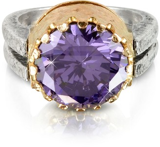 Tryò Purple Amethyst Cubic Zirconia Sterling Silver & Rose Gold Reversible Ring