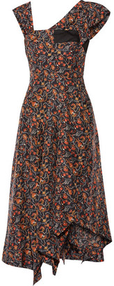 Isabel Marant - Rocky Asymmetric Printed Silk-voile Midi Dress - Midnight blue