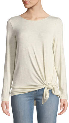 Max Studio Long-Sleeve Side-Tie Tee, White