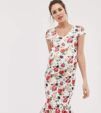 Bluebelle Maternity v neck bodycon dress with cap sleeve in floral print