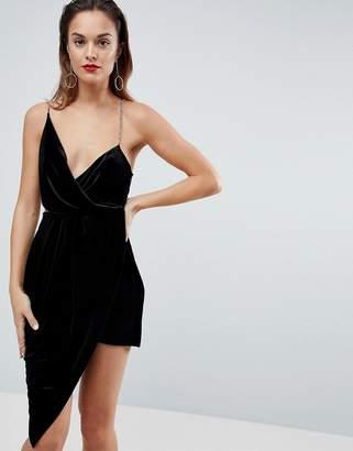 Asos Velvet Drape Chain Back Midi Dress