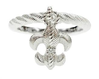 Judith Ripka Sterling Fleur-De-Lis Charm Ring
