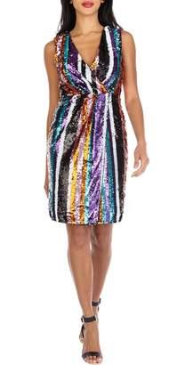 TFNC Sarah Rainbow Sequin Stripe Cocktail Sheath