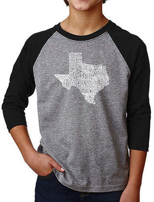 LOS ANGELES POP ART Los Angeles Pop Art Boy's Raglan Baseball Word ArtT-shirt - The Great State of Texas