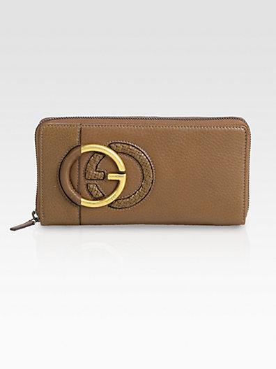 Gucci Twill Leather Zip-Around Wallet