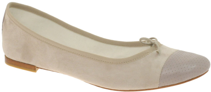 Repetto Flora Suede And Perforated Ballerina