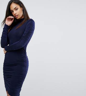 Club L Power Shoulder Ruched Gathered Detail Dress