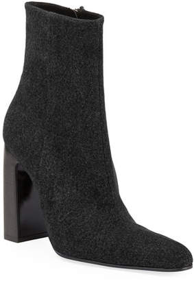 Balenciaga Denim Round-Toe Block-Heel Booties