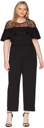 Adrianna Papell Plus Size Illusion Neckline Jumpsuit Women's Jumpsuit & Rompers One Piece