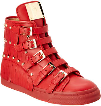 a556ae15d876 Giuseppe Zanotti Fringe Leather High Top Wedge Sneaker