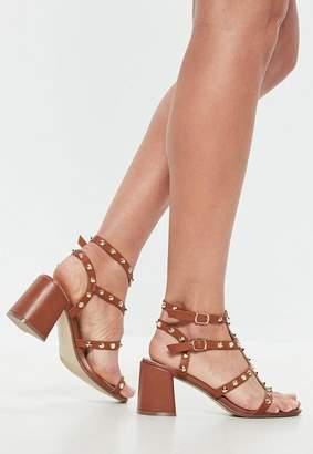 Missguided Tan Studded Flared Heel Gladiator Sandals
