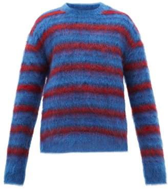 Marni Oversized Striped Mohair Blend Sweater - Mens - Blue Multi