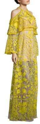 Thurley Marigold Embroidered Cold-Shoulder Bell-Sleeve Maxi Dress
