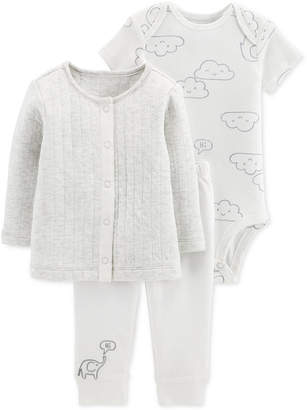 Carter's Baby Boys & Girls 3-Pc. Cardigan, Bodysuit & Pants Set