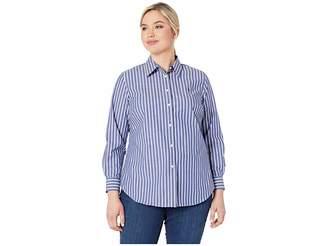 ab5812c05e6 Lauren Ralph Lauren Plus Size Embroidered Striped Button Down Shirt